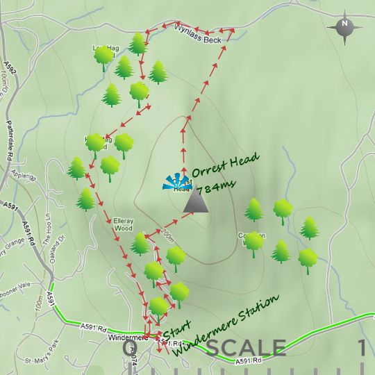This is a shorter, easier walk near Windermere that might be accomplished before we arrive at the B&B