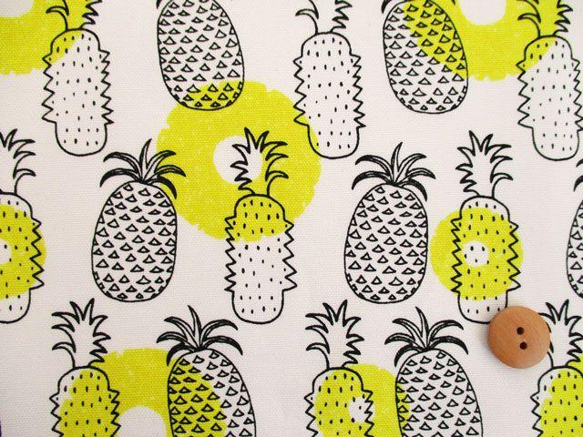 商品詳細 オックスプリント パイナップル 110cm巾/生地の専門店 布もよう