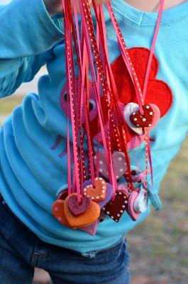 salt dough valentine heart necklaces