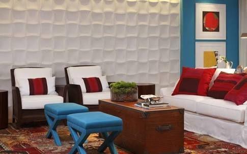 Image result for decoracao sala vermelho turquesa