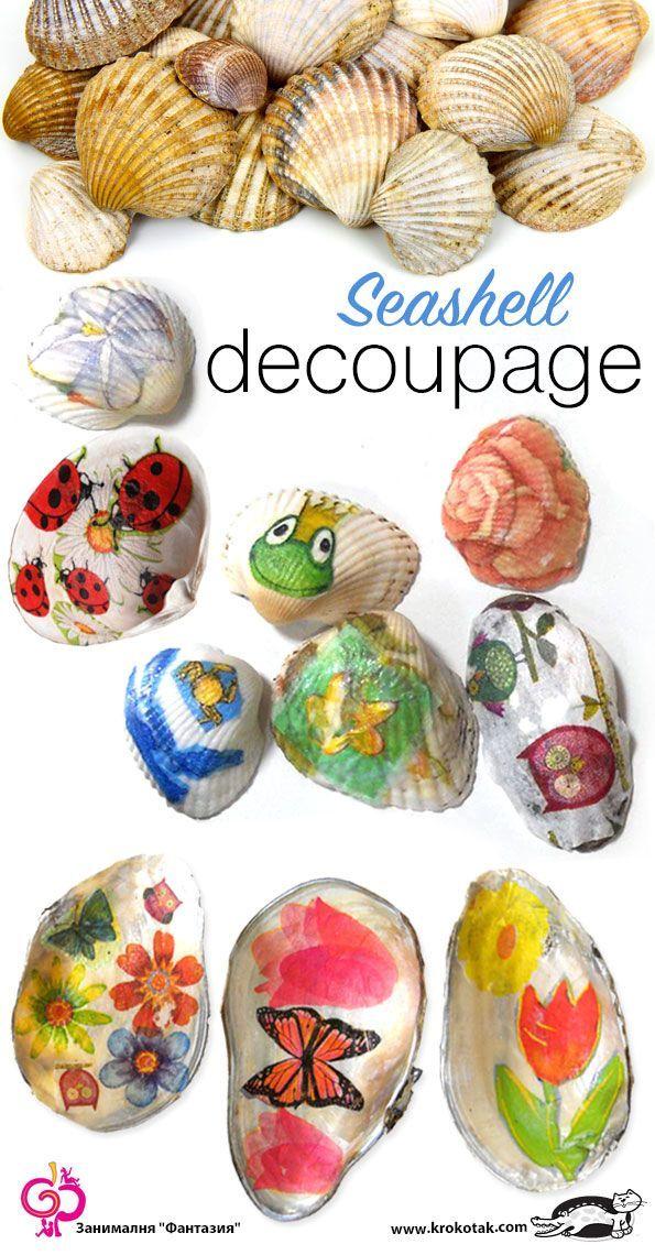 Decoupage on Sea Shells
