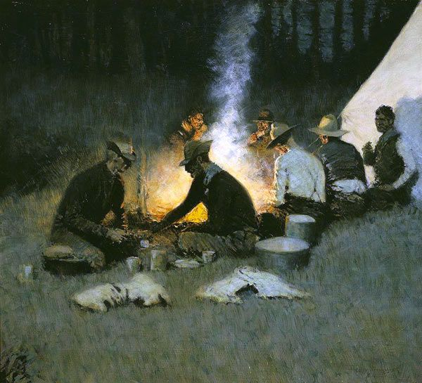 Frederic Remington, The Hunters' Supper, c. 1909, National Cowboy and Western Heritage Museum, Oklahoma City, Oklahoma.