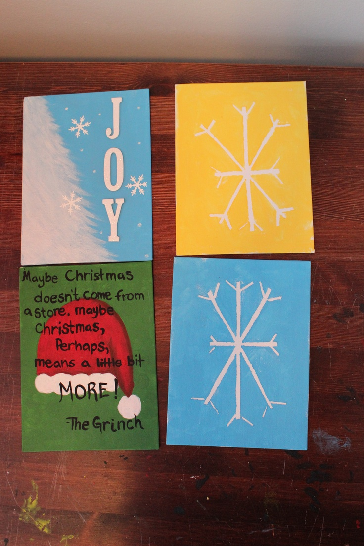snowflakes were used by placing tape on the canvas then painting and peeling off when dry.     grinch image hand painted, idea source: http://www.etsy.com/listing/86499988/grinch-christmas-quote-on-16x20-canvas    joy image tree handpainted, letters and snowflakes premade from scrapbooking supplies. source for image:http://www.domestically-speaking.com/2011/12/104th-popp-spotlight.html