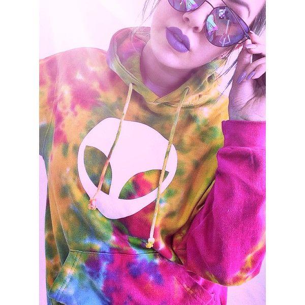 Alien Tie Dye Hoodie Tumblr Women's Hoodie Sweatshirt Tiedye Hooded... ($45) ❤ liked on Polyvore featuring tops, hoodies, sweatshirts, silver, women's clothing, tie dye hooded sweatshirt, tie dye hoodie, hooded pullover, tie dye hoodies and silver top