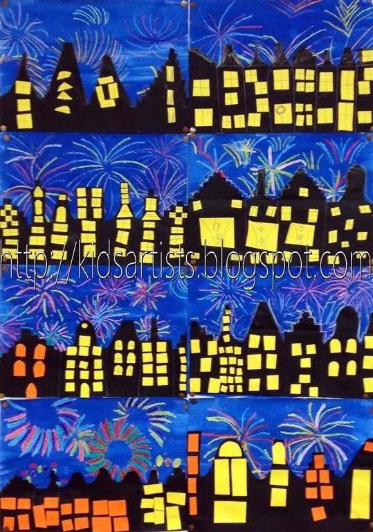 "Fireworks - Kids Artists: december 2012  ""Show pictures or movies about fireworks and discuss what this looks like. Use crayons to draw fireworks on a white sheet. Paint this with blue liquid water colour paint. Let dry.  Cut a skyline out of half a sheet of black paper. Paste this on the blue sheet. Cut windows from yellow or orange paper.  Draw a yellow chalk line on the roofs and smudge it."""