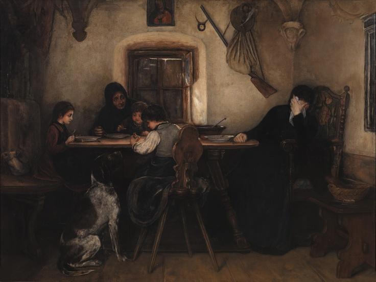 """""""Θρήνος στο σπίτι του δασοφύλακα"""" (Νικόλαος Γύζης: Ο μεγάλος ζωγράφος / Ίδρυμα Β. & Μ. Θεοχαράκη, 2013)"""