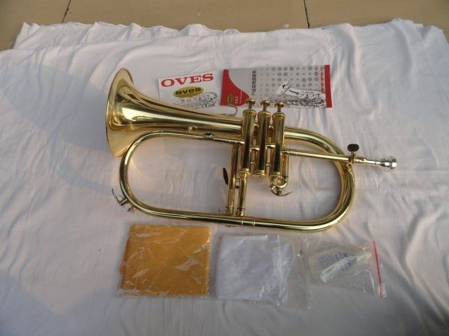228.00$  Watch now - http://ali6q0.worldwells.pw/go.php?t=574148362 - VOES New Bb Trumpet Yellow Brass Gold Lacquer Flugelhorn Tuba Trompeta Bach Advanced Small Youth Tube Paint B Flat Trumpete