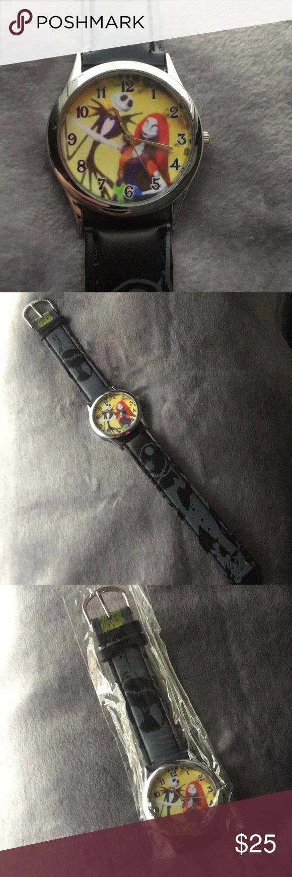 🎄 Nightmare Before Christmas Watch Nightmare Before Christmas, Jack Skellington & Sally watch. Super cute, unique band. Fits small to x-large wrist. Unisex, BRAND NEW in package! (Battery included) Nightmare Before Christmas Accessories Watches