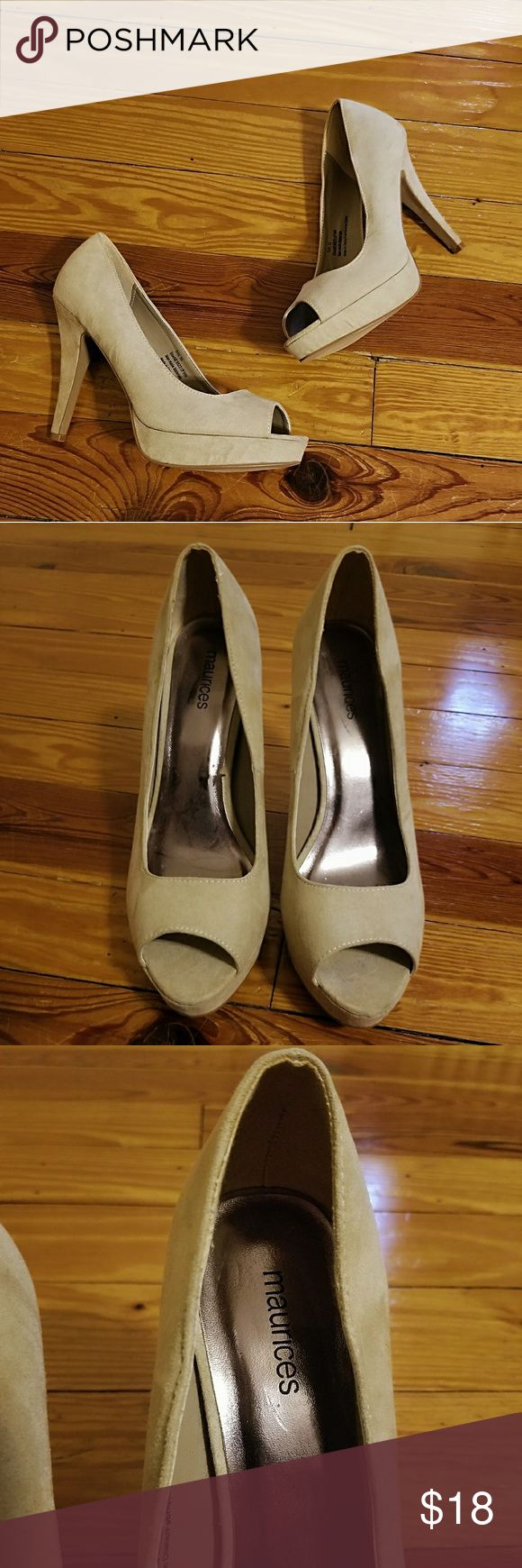 "Maurices Platform Peep-toe Heeles Beautiful faux suede tan peep-toe platform heels by Maurice, look almost new heel 4.5"" size 9.5 Maurices Shoes"