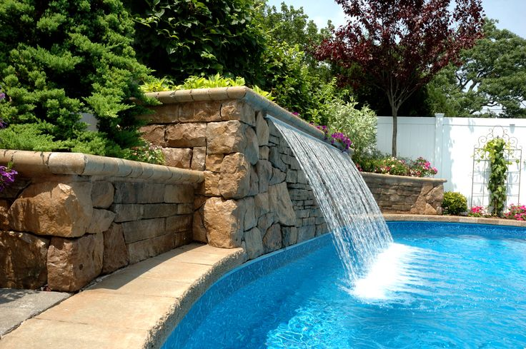 Sheer descent rain water feature fountain weirs - Swimming pool waterfalls water features ...