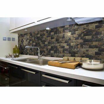 Peel N' Stick Slate Veneer Wall Tiles 3 in. x 6 in. - 64 tiles