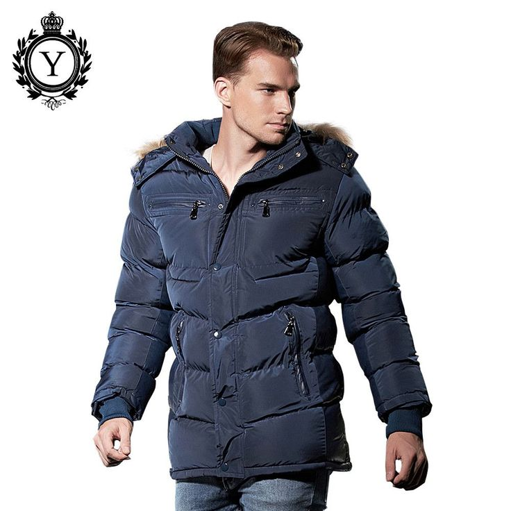 Stylish Winter Jacket Mens Polyester Thick Long Style Bomber Jacket Fur Hoody Down Coat
