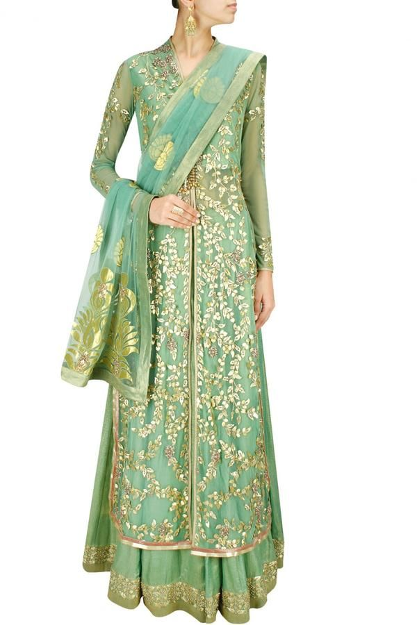 Ashima Leena - Sage green gota patti long jacket with foil lehenga and dupatta Image