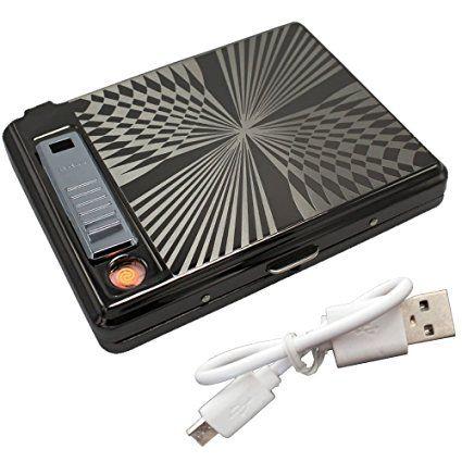 Metallo Pack Full involucro 20 sigarette normali con Accendino ricaricabile USB, senza fiamma, antivento, Argento (Black)