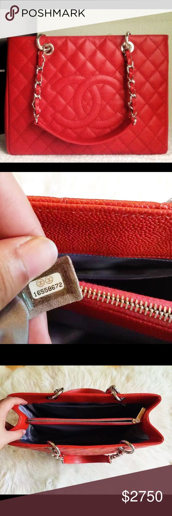 Auth Chanel GST Grand Shopping Tote Cherry Red GHW PRISTINE LIKE NEW WITH MINIMAL SIGNS OF WEAR. Comes with original receipt and authenticity card. GUARANTEED 100% AUTHENTIC OR 10X YOUR MONEY BACK!! PHOTOS ARE TAKEN OF THE EXACT SAME ITEM YOU WILL RECEIVE! WHAT YOU SEE IS WHAT YOU GET*** PLEASE VISIT OUR WEBSITE AT WWW.AUTHENTICLUXURIESTW.COM or email me at authenticluxuries11@gmail.com for more detailed photos =). Chanel Bags Totes