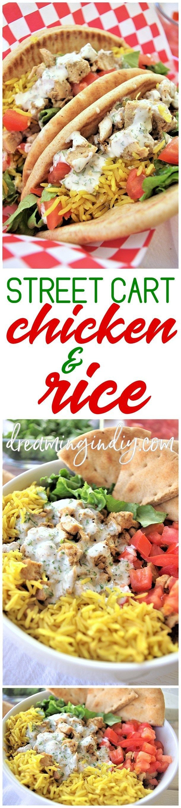"""Easy and Delicious Street Cart Mediterranean Chicken and Rice Bowls or Pitas Sandwich Quick and Simple Recipes via Dreaming in DIY - This street vendor cart style chicken and rice recipe is PACKED with amazing Mediterranean flavors! The sauce is what really elevates this recipe from """"delicious and we really liked it"""" to """"Total keeper - must make again SOON!"""" status."""