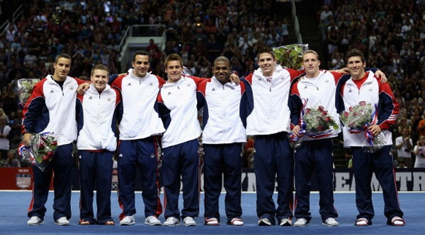 The US Gymnastics men's team of (from left) Jacob Dalton, Jonathan Horton, Danell Leyva, Sam Mikulak, John Orozco, Chris Brooks, Steven Legendre and Alexander Naddour pose for a team picture after they were announced as the team going to the 2012 London Olympics at HP Pavilion on July 1, 2012 in San Jose, California