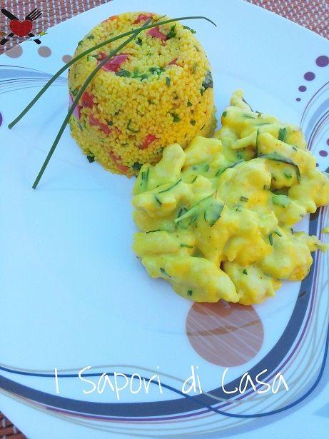 Bocconcini di pollo alla provenzale con tortino di cous cous alla libanese