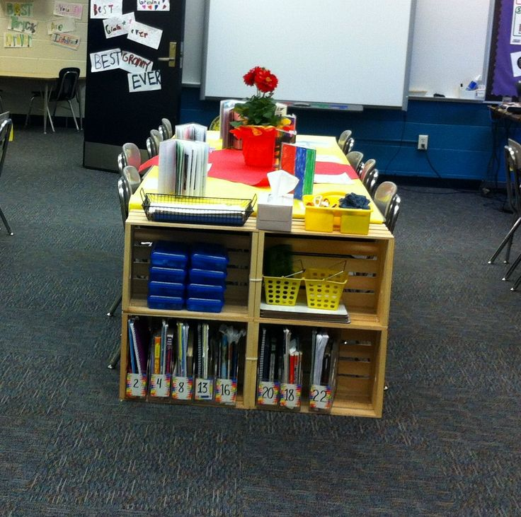 Wood Crates from Joann Fabrics zip tied together (who wants to mess with glue?) to make a student supply station.  They are the perfect size for elementary desks, and each team has math tool kits, Kleenex, notebook paper, dry erase boards, scissors, glue sticks, and book bins within easy reach without cluttering desks.  Best thing ever!  I also have a table captain whose job is to keep the table supplies stocked and neat.