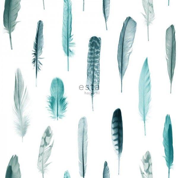 138895 HD vliesbehang veren turquoise en mat wit