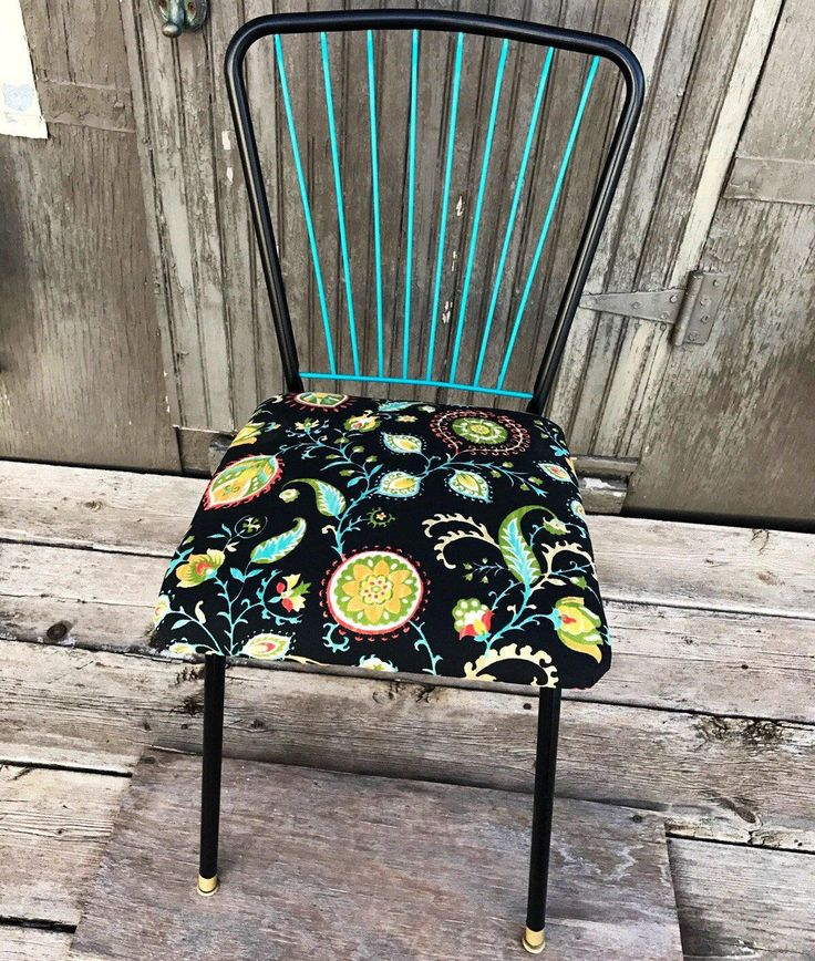 up cycled vintage mid century retro office chair accent chair upcycled black turquoise chair floral chair