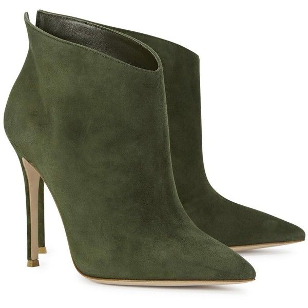 Womens Ankle Boots Gianvito Rossi Kat Green Pointed Suede Ankle Boots ($800) ❤ liked on Polyvore featuring shoes, boots, ankle booties, heels, suede booties, pointy toe boots, green suede booties, suede ankle boots and pointy toe booties