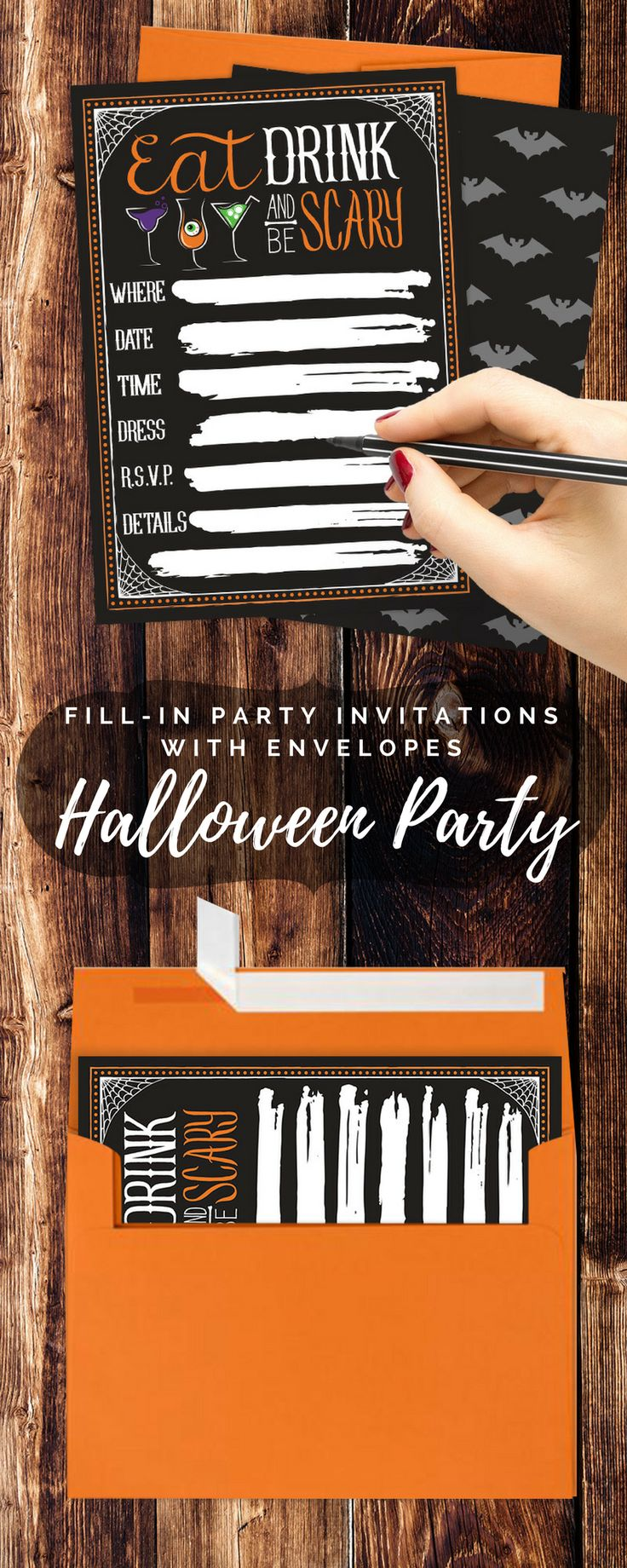 These Black Halloween Party Invitations with Bright Orange Self-Sealing Envelopes will Get Your Guests in the Spirit of Halloween before your Spooktacular Party.