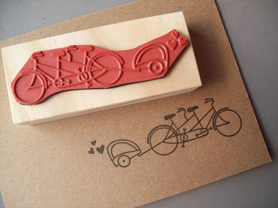 Tandem Bicycle Rubber Stamp with Baby Trailer by stampcouture-- ordering a stamp to go with it with dates!