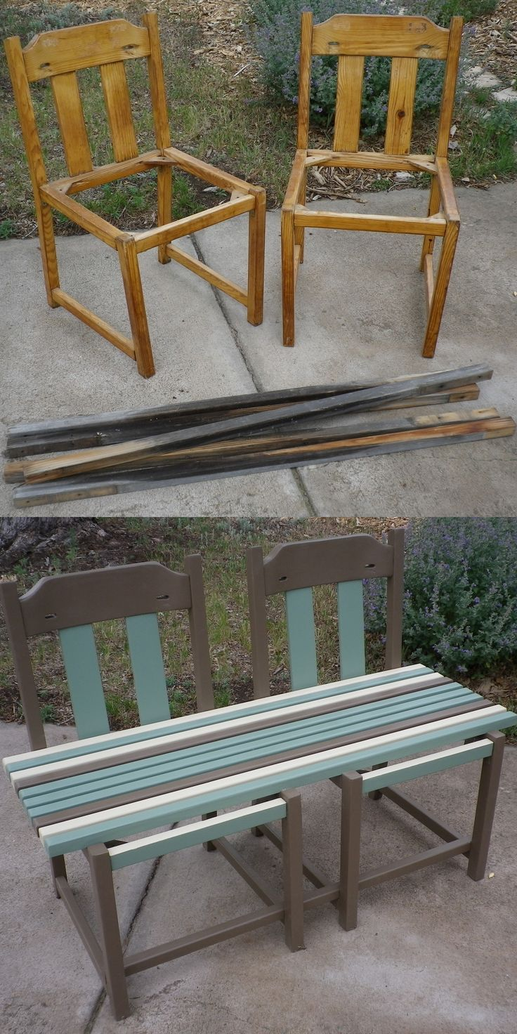 An outdoor bench from two chairs found