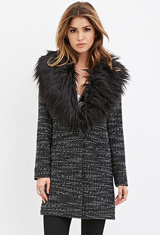 Faux Fur Tweed Coat | Forever 21 - 2000141120