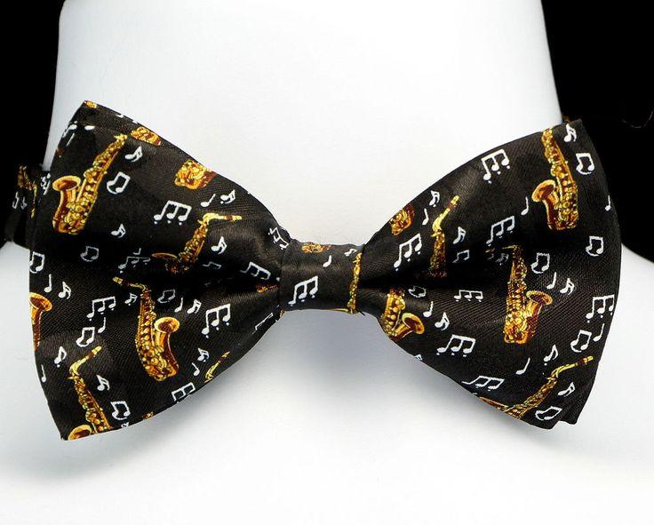 Saxophone Notes Mens Bow Tie Tuxedo Adjustable Musician Gift Black Bowtie New #TiesJustForYou #BowTie