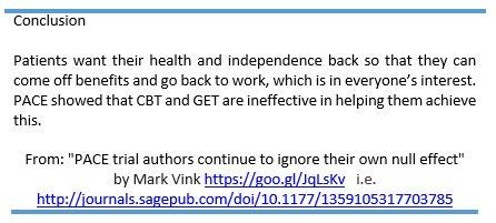 """From the open access paper: """"#PACE trial authors continue to ignore their own null effect""""    http://journals.sagepub.com/doi/10.1177/1359105317703785 …    #MEcfs #CFS #MyalgicE"""