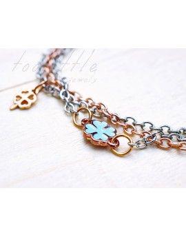Βραχιόλι Chains Jade Key & Four-leaf Clover
