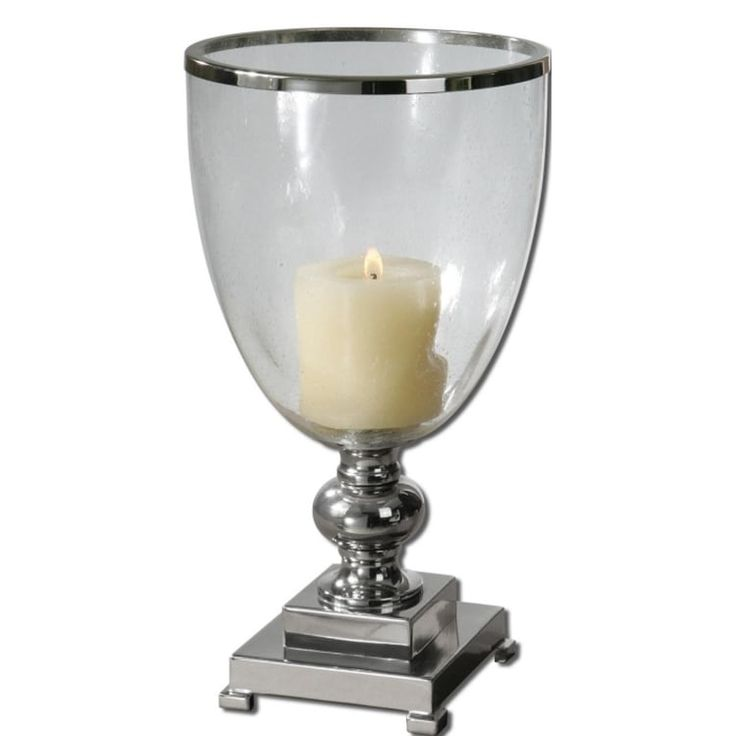 Nickel Plated Lino Clear Glass Globe Candle holder With Distressed Beige Candle