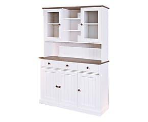 Credenza in legno massello con vetrinetta Lione - 181x131x45 cm