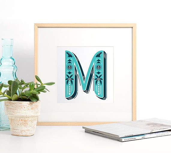 Letter M Print, Monogram Wall Art, Typography Print, Graphic Initial Poster, Wall Letter