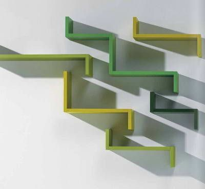 wall shelving units with colorful design