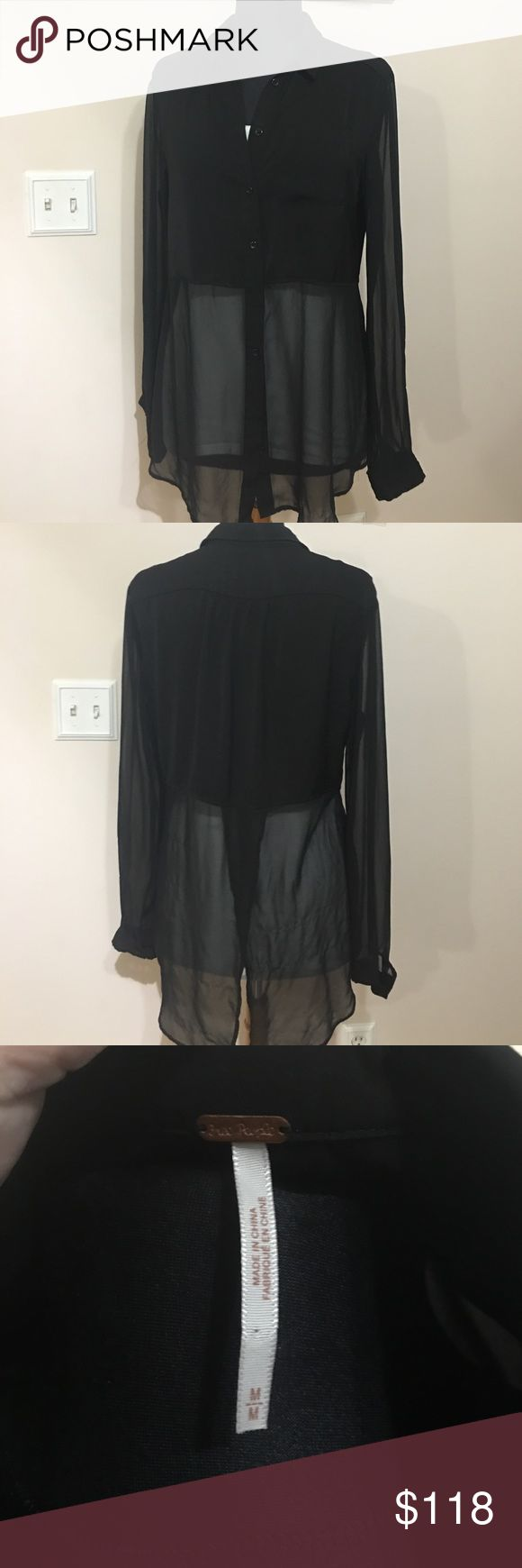 Free people Beat of both worlds free people best of both worlds blouse in black a solid-satin cropped body and collar define a chic, oversized button-front shirt. Sheer sleeves and panels to the hem add a chic touch to the on-trend yet easy-to-wear style. sheer chiffon with solid panel across bust.spread collar; button front.long sleeves; barrel cuffs.relaxed fit.shirttail hem hits below hip; slit in back. size M armpit-armpit flat across 20, sleeve from armpit to hem 21.5, front from…