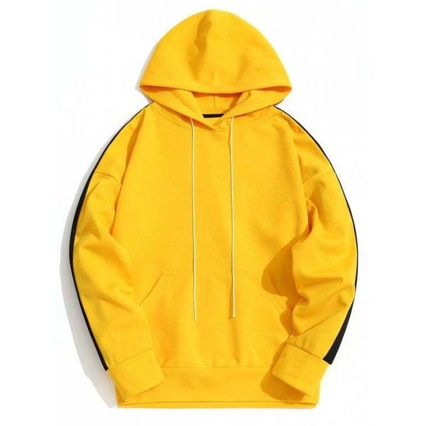 Kangaroo Pocket Contrast Color Hoodie Men Clothes ($30