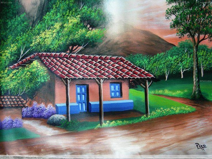 Paisajes tipicos costarricenses en oleo buscar con - Cuadros de casas de campo ...