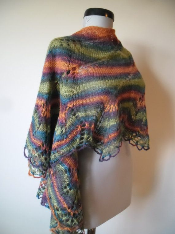 Knitting lace shawl Green  knitting shawl by CrisColourCrochet