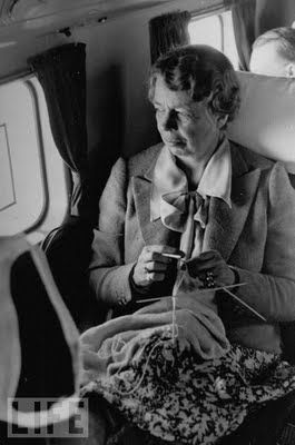 Eleanor Rooseveldt knitting in flight. Can you imagine how amazing it would be to own a knitted piece by Eleanor?