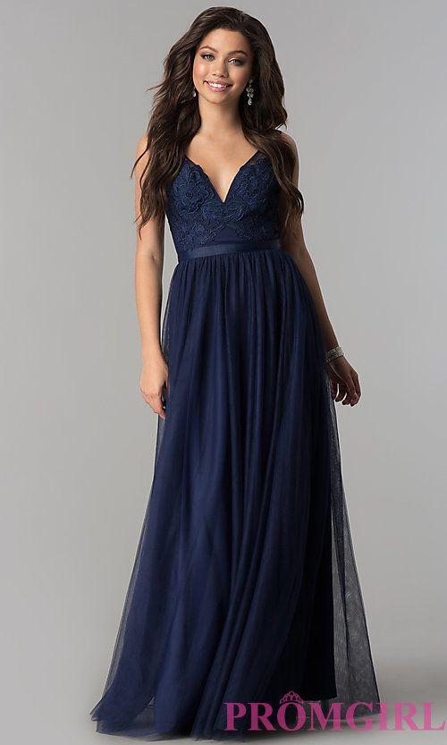 6d0070fb7 V-Neck Lace-Applique Long Tulle Prom Dress | Prom and Hoco | Dresses, Prom  dresses, Tulle prom dress