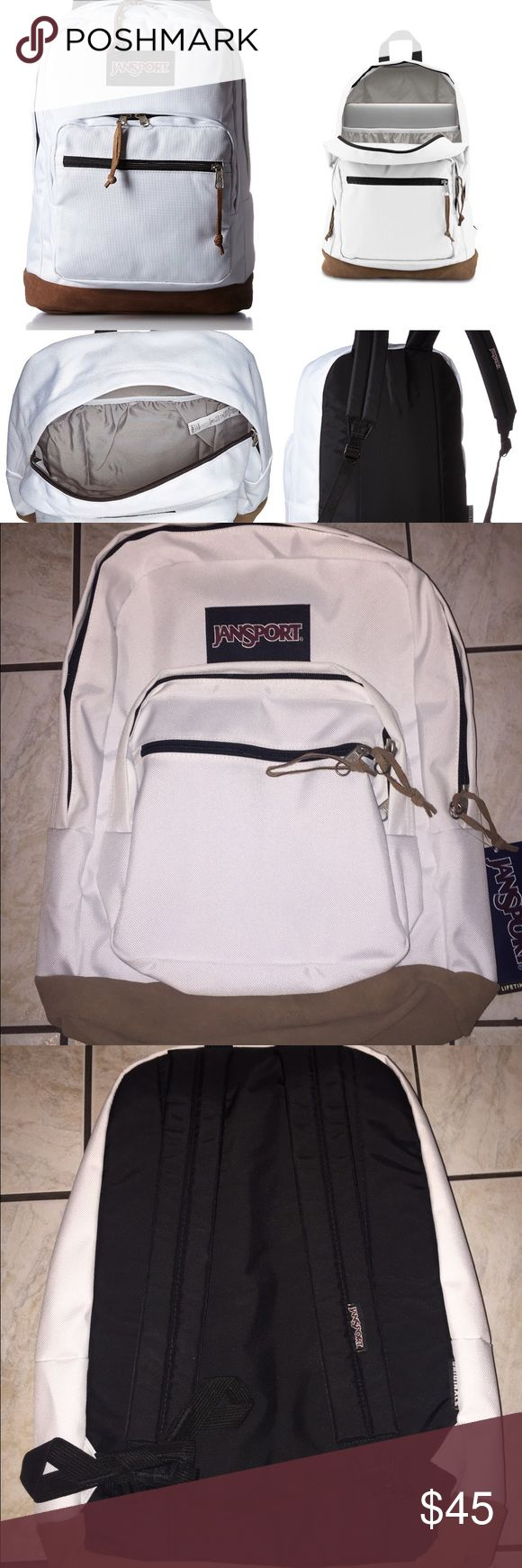 "NWT WHITE JANSPORT BACKPACK This is $60 on the JANSPORT website. NEW JANSPORT WHITE BACKPACK! This has a pocket for a 15"" laptop. NO DEFECTS. Leather bottom. Any questions ask below! Jansport Bags Backpacks"