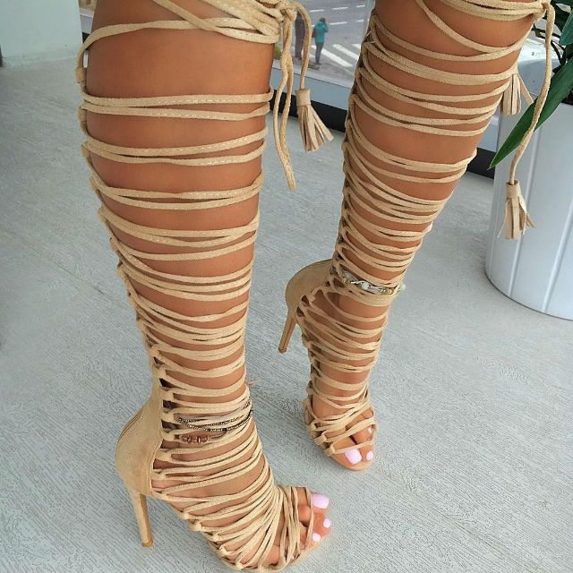 Lace Up Multi Strap Gladiator Heels