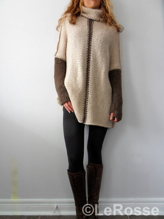Oversized/Slouchy/Loose knit sweater. Alpaca /Merino by LeRosse