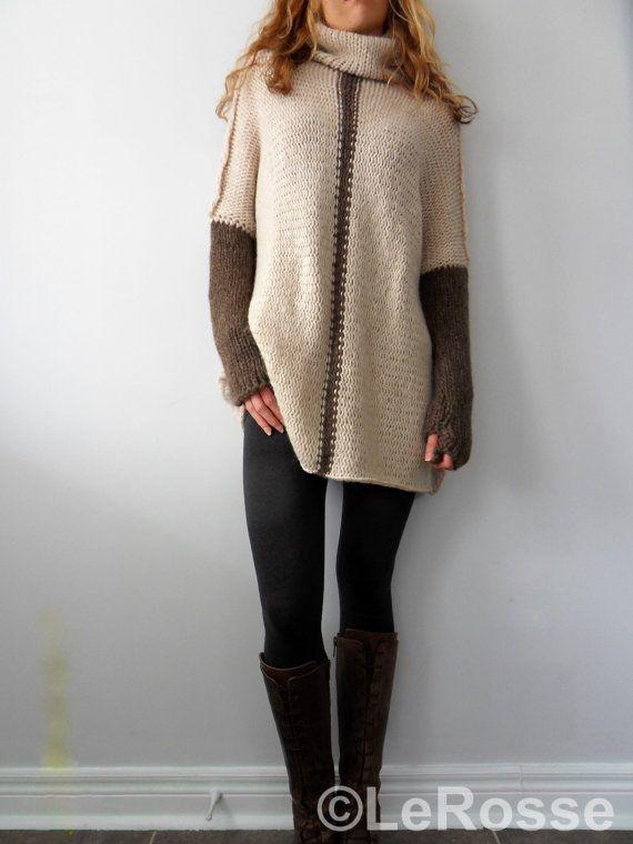 Oversized/Slouchy/Loose knit sweater. Alpaca /Merino by LeRosse
