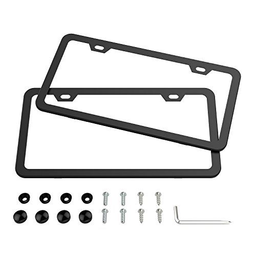 Black License Plate Frames, Karoad Stainless Steel Car Licence Plate Covers Slim Design 2 PCS with Bolts Washer Caps for US Standard