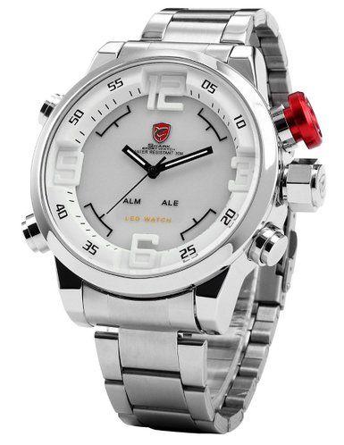 SHARK Mens LED Date Day White Dial Sport Military Stainless Steel Quartz Wrist Watch SH104