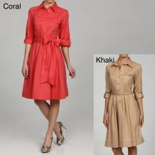 Sharagano Women's Coral Stretch Poplin Belted Shirt Dress $19.99